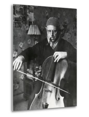 Pablo Casals, the Great Cello Player in His Home in Barcelona--Metal Print
