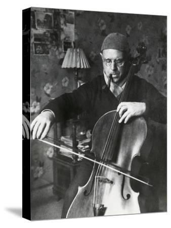 Pablo Casals, the Great Cello Player in His Home in Barcelona--Stretched Canvas Print