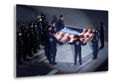 The Us Olympic Team Holds the American Flag That Flew over the Ground Zero--Metal Print