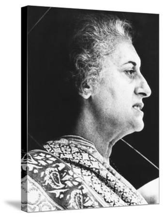 India's Prime Minister Indira Gandhi Speaks to Supporters on June 18, 1975--Stretched Canvas Print