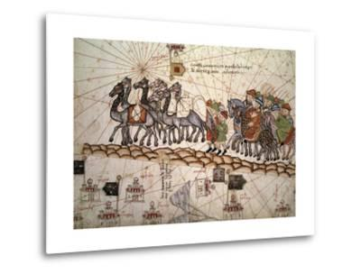 Marco Polo Road to Cathay, Catalan Atlas, Caravan of Travelers-Abraham Cresques-Metal Print