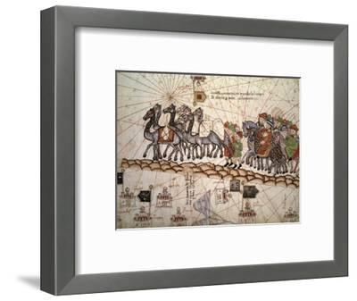 Marco Polo Road to Cathay, Catalan Atlas, Caravan of Travelers-Abraham Cresques-Framed Giclee Print