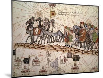 Marco Polo Road to Cathay, Catalan Atlas, Caravan of Travelers-Abraham Cresques-Mounted Giclee Print