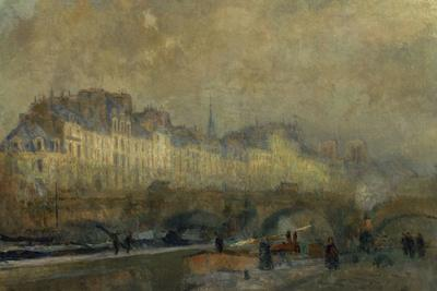 Winter Sun at Paris-Albert Lebourg-Stretched Canvas Print