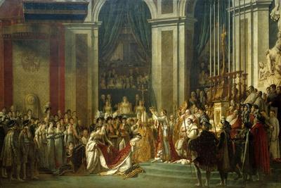 Coronation of Empress Josephine on Dec. 2, 1804-Jacques Louis David-Stretched Canvas Print