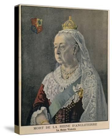 Elderly British Queen Victoria. French Engraving Published on Her Death on Feb. 3, 1901--Stretched Canvas Print
