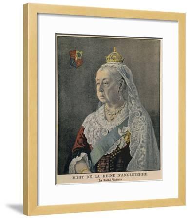 Elderly British Queen Victoria. French Engraving Published on Her Death on Feb. 3, 1901--Framed Giclee Print