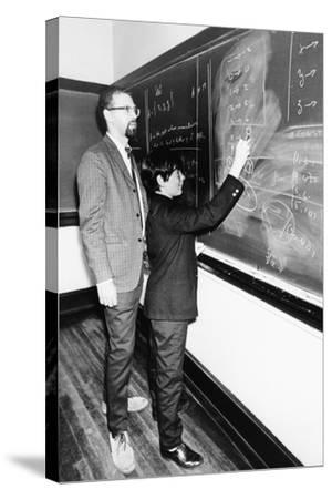Professor Harry Dym, Works with His 12 Year Old Student, Matthew Marcus at New York City College--Stretched Canvas Print