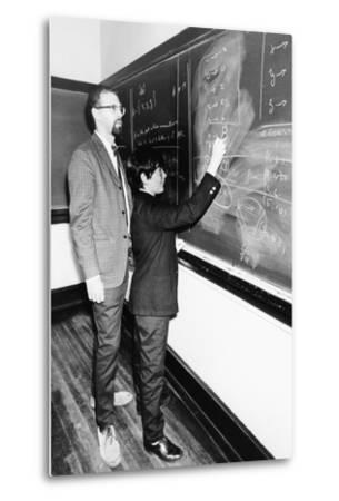 Professor Harry Dym, Works with His 12 Year Old Student, Matthew Marcus at New York City College--Metal Print