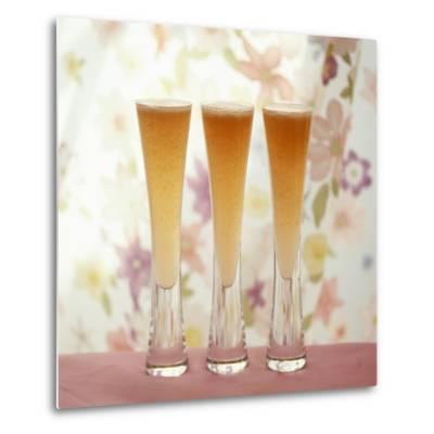 Three Glasses of Bellini (Sparkling Wine with Peach Juice)-Michael Paul-Metal Print