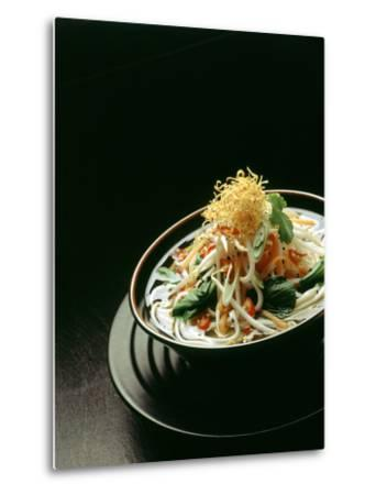 Japanese Noodle Soup (Miso Udon) with Fried Ginger-Frank Wieder-Metal Print