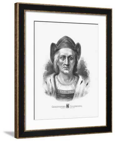 Vintage Print of Christopher Columbus-Stocktrek Images-Framed Art Print