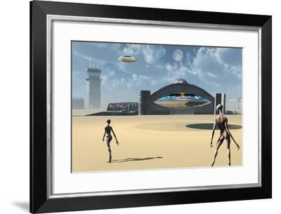 Alien Reptoids and their Flying Saucers at Area 51-Stocktrek Images-Framed Art Print