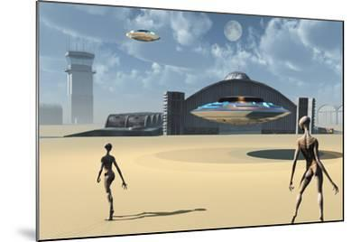 Alien Reptoids and their Flying Saucers at Area 51-Stocktrek Images-Mounted Art Print