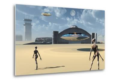 Alien Reptoids and their Flying Saucers at Area 51-Stocktrek Images-Metal Print