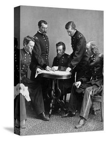 Vintage Civil War Photograph of General Philip Sheridan and His Staff-Stocktrek Images-Stretched Canvas Print