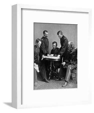 Vintage Civil War Photograph of General Philip Sheridan and His Staff-Stocktrek Images-Framed Photographic Print