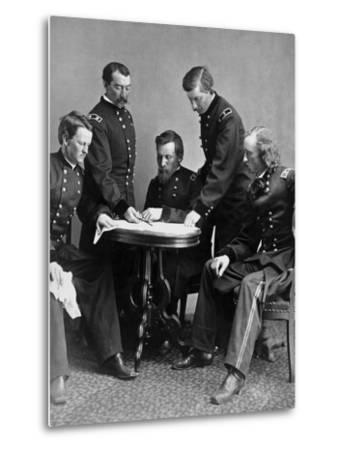 Vintage Civil War Photograph of General Philip Sheridan and His Staff-Stocktrek Images-Metal Print