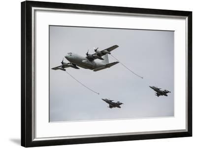 A Swedish Air Force C-130E Hercules with Two Czech Air Force Gripens in Tow-Stocktrek Images-Framed Photographic Print