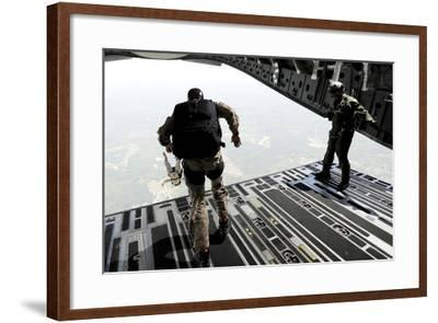 Navy Seals Jump from the Ramp of a C-17 Globemaster Iii over Virginia-Stocktrek Images-Framed Photographic Print