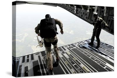Navy Seals Jump from the Ramp of a C-17 Globemaster Iii over Virginia-Stocktrek Images-Stretched Canvas Print