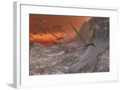 A Flock of Zhenyuanopterus Flying Past the Mountainside-Stocktrek Images-Framed Art Print