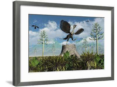 An Archaeopteryx Takes Flight from Atop a Tree Stump-Stocktrek Images-Framed Art Print