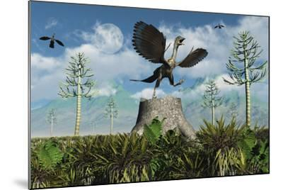 An Archaeopteryx Takes Flight from Atop a Tree Stump-Stocktrek Images-Mounted Art Print