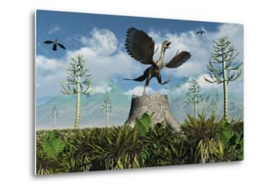 An Archaeopteryx Takes Flight from Atop a Tree Stump-Stocktrek Images-Metal Print