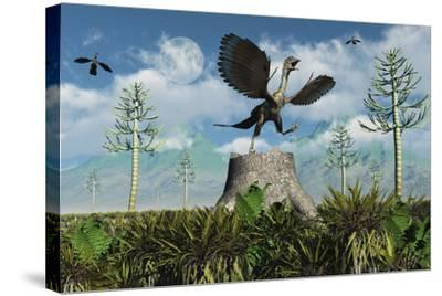 An Archaeopteryx Takes Flight from Atop a Tree Stump-Stocktrek Images-Stretched Canvas Print