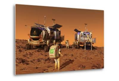 A Pair of Manned Mars Rovers Rendezvous on the Martian Surface-Stocktrek Images-Metal Print