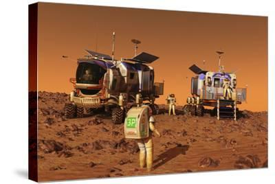 A Pair of Manned Mars Rovers Rendezvous on the Martian Surface-Stocktrek Images-Stretched Canvas Print