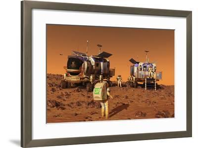 A Pair of Manned Mars Rovers Rendezvous on the Martian Surface-Stocktrek Images-Framed Art Print