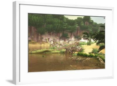 Dinosaurs Grazing Along a Cretaceous River-Stocktrek Images-Framed Art Print