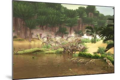 Dinosaurs Grazing Along a Cretaceous River-Stocktrek Images-Mounted Art Print