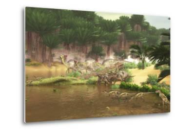 Dinosaurs Grazing Along a Cretaceous River-Stocktrek Images-Metal Print