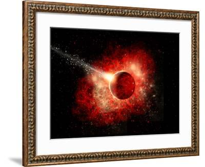 A Comet Hitting an Alien World with Devastating Effect-Stocktrek Images-Framed Art Print