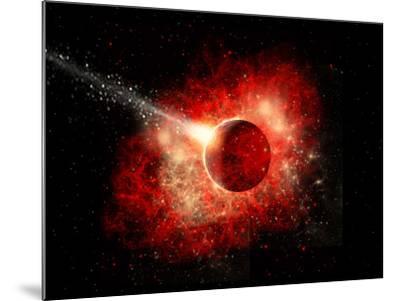 A Comet Hitting an Alien World with Devastating Effect-Stocktrek Images-Mounted Art Print