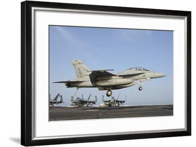 An FA-18E Super Hornet Makes an Arrested Landing Aboard an Aircraft Carrier-Stocktrek Images-Framed Photographic Print