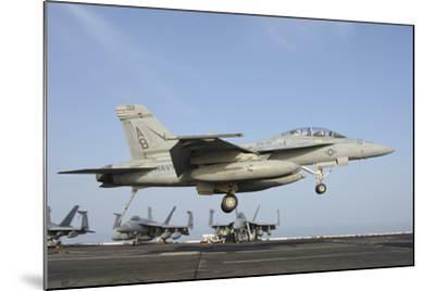 An FA-18E Super Hornet Makes an Arrested Landing Aboard an Aircraft Carrier-Stocktrek Images-Mounted Photographic Print