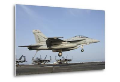 An FA-18E Super Hornet Makes an Arrested Landing Aboard an Aircraft Carrier-Stocktrek Images-Metal Print
