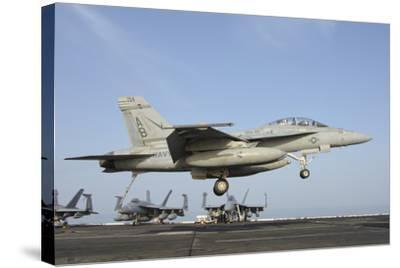 An FA-18E Super Hornet Makes an Arrested Landing Aboard an Aircraft Carrier-Stocktrek Images-Stretched Canvas Print