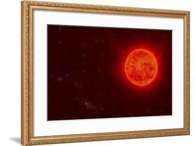 Red Dwarf Sun Floating Through Space-Stocktrek Images-Framed Art Print