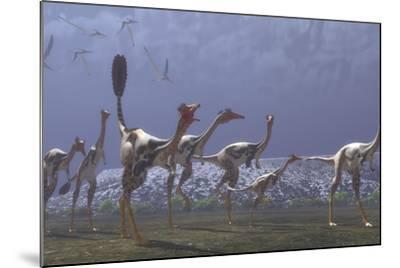 Herd of Mononykus Followed by a Flock of Pteranodons-Stocktrek Images-Mounted Art Print