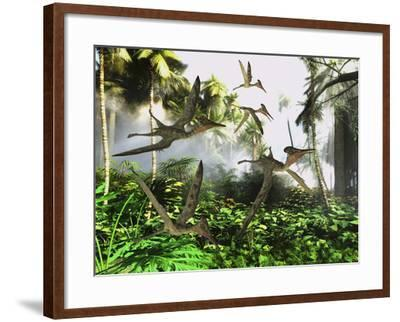 A Flock of Pterodactylus Reptiles Fly over the Jungle Searching for their Next Meal-Stocktrek Images-Framed Art Print