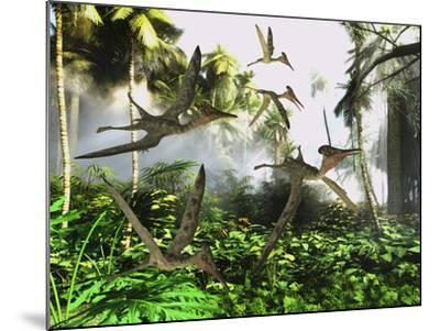 A Flock of Pterodactylus Reptiles Fly over the Jungle Searching for their Next Meal-Stocktrek Images-Mounted Art Print