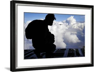 A Romanian Paratrooper Awaits His Signal to Jump Out of a C-130J Super Hercules-Stocktrek Images-Framed Photographic Print