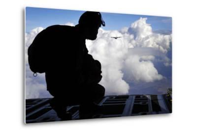 A Romanian Paratrooper Awaits His Signal to Jump Out of a C-130J Super Hercules-Stocktrek Images-Metal Print
