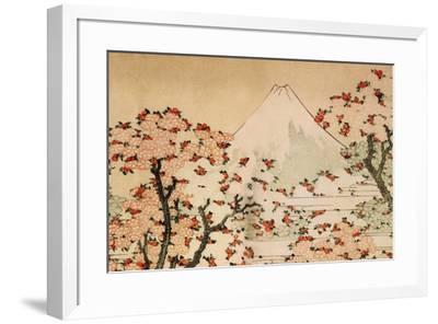 Katsushika Hokusai Mount Fuji Behind Cherry Trees and Flowers-Katsushika Hokusai-Framed Art Print