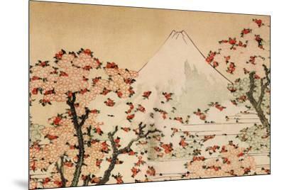 Katsushika Hokusai Mount Fuji Behind Cherry Trees and Flowers-Katsushika Hokusai-Mounted Art Print